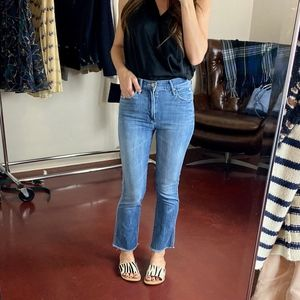 (MOTHER) High Waisted Ankle Fray Jeans